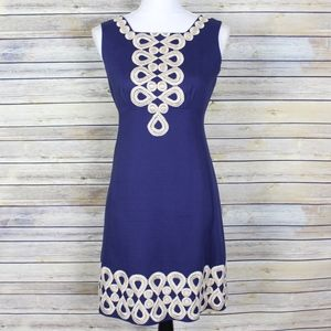Lully Pulitzer Adelson Shift Dress Navy Blue Gold